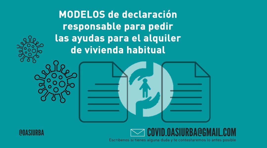 Modelos de declaración responsable, ayudas alquiler de vivienda